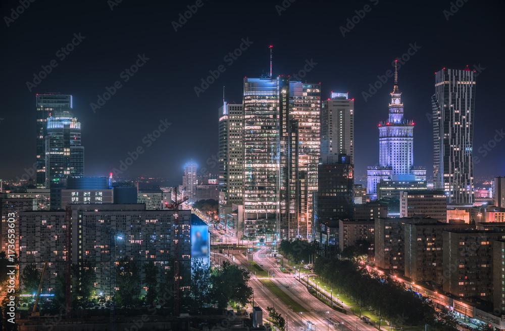 Fototapety, obrazy: Warsaw downtown at night, Poland. Polish capital