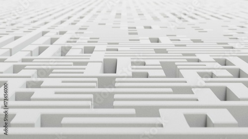 Shallow depth of field and heavily foreshortened perspective on an infinite rough white granite maze Canvas Print