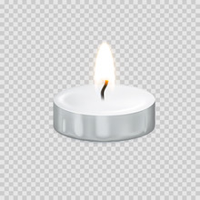 Candle Tealight Or Candlelight Vector 3D Realistic Icon Burning Flame Fire