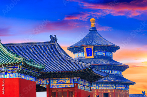 Door stickers Peking Temple of Heaven landscape at sunset in Beijing,chinese cultural symbols
