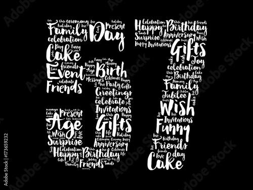 Fotografie, Obraz  Happy 57th birthday word cloud collage concept