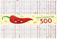 500 Mega Set Of Cute Kawaii Em...