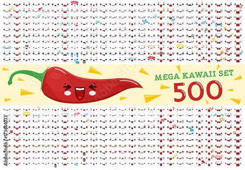 Photo  500 Mega set of cute kawaii emoticon face and chili pepper kawaii