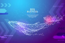 Blue Whale In The Form Of A Starry Sky Or Space, Consisting Of Points, Lines, And Shapes In The Form Of Planets, Stars And The Universe. Large Marine Animal Vector Wireframe Concept. Blue Purple