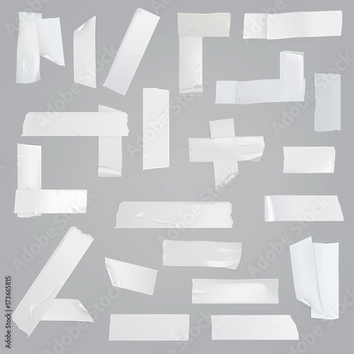 Fotografía  White adhesive tape various pieces with wrinkles, curved and torn edges isolated realistic vector illustrations set