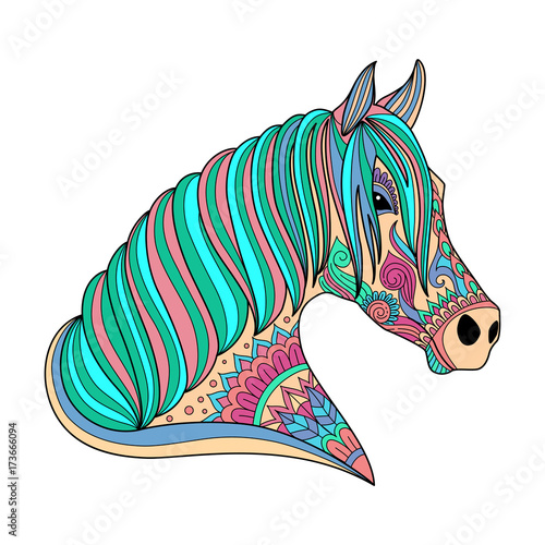 stylized drawing horse zentangle style for coloring book, tattoo ...