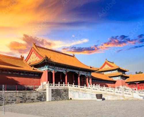 In de dag Beijing Beijing forbidden city scenery at sunset,China,Chinese symbols