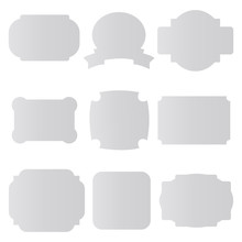 Set Of Blank Paper Labels, Badges Isolated On White Background. Vector Illustration