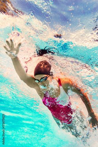 Swimming - underwater view Canvas Print
