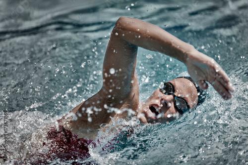 High speed swimming Canvas Print