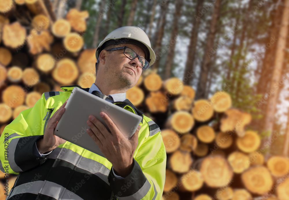 Valokuva  Forestry worker with digital tablet checking trees