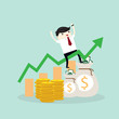 Young happy Business man sit on graph growth from money coin with icon of business and creativity. Business investment growth concept. start up - vector illustration