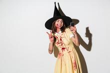 Happy Woman In Halloween Costu...