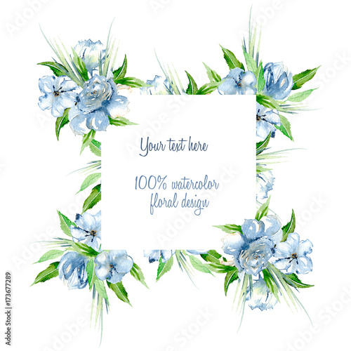 Frame border with simple watercolor blue roses and