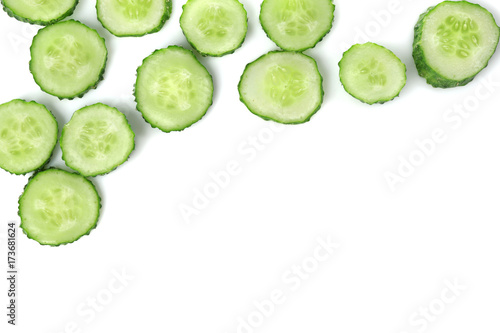 Photo  Slices of fresh cucumber on white background