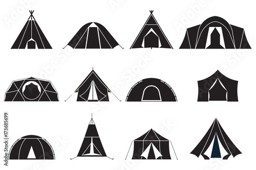 Camping and hiking tent types in outline design Fotobehang