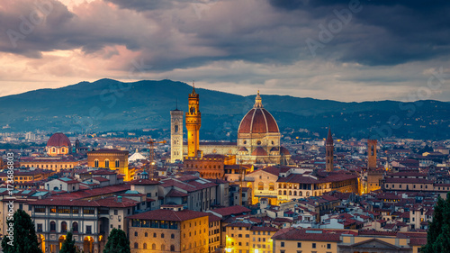 Aluminium Prints Florence Aerial view of Florence at night, Italy