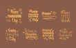 Thanksgiving day typography. Vector autumn leaves. Hand drawn Happy Thanksgiving Day Background.