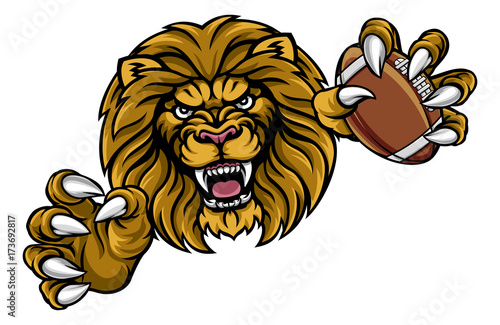 Photo  Lion American Football Ball Sports Mascot