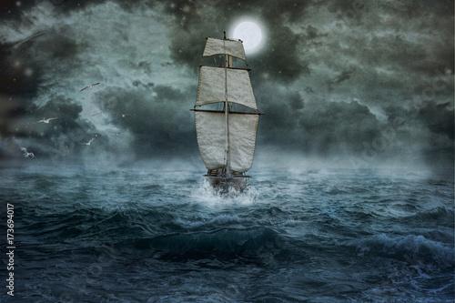 Fotografía  Schiff, Meer, Ozean, blau, Wolken, Wasser, Segel, Sturm