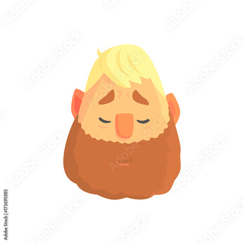 Photo  Young bearded man face, positive male character cartoon vector illustration