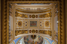 Interior Of The St Isaacs Cathedral, St Petersburg, Russia - Ceiling Decorated With Bible Paintings