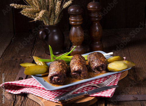 Obraz na plátně baked beef Roulades with delicious fillings