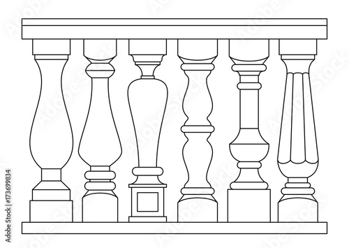Set of classic balusters Wallpaper Mural
