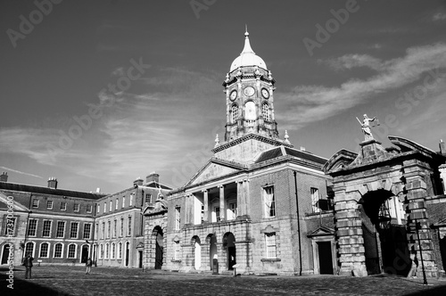 Dublin castle hall in the evening in Ireland. Black and white Poster