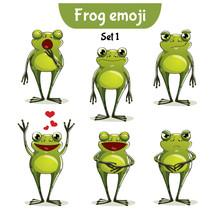 Vector Set Of Cute Frog Charac...