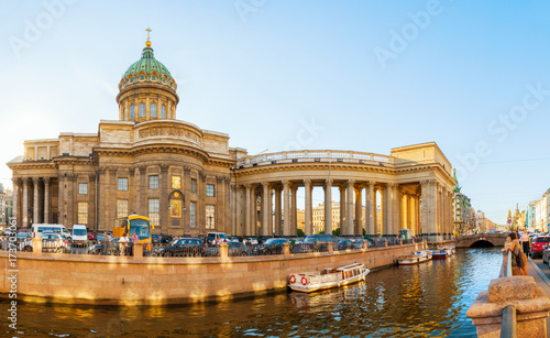 Kazan cathedral and Griboedov channel in St Petersburg, Russia. Architecture panorama of St Petersburg, Russia
