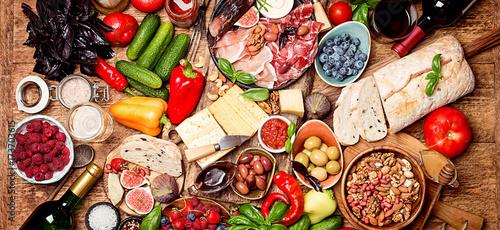 Fotografie, Obraz  Top view table full of food