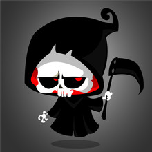 Cute Cartoon Grim Reaper With ...