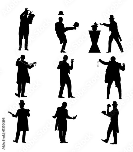 Valokuva  Magician performing trick with cards, pigeon, rabbit, balls vector silhouette illustration isolated on white