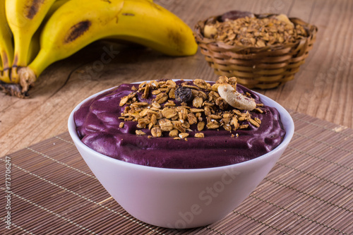 Acai with banana and granola Canvas Print