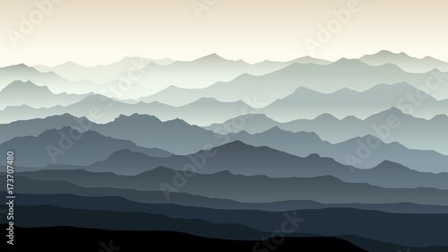 Horizontal illustration of morning misty mountain landscape. Wallpaper Mural