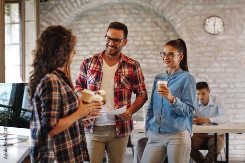 Fotografie, Obraz  Young freelance team at a coffee break