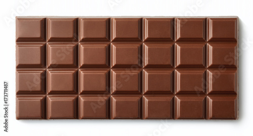 Milk chocolate bar isolated on white background