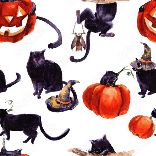 Cotton fabric Set Of Cat Cartoon With Different Actions, Halloween