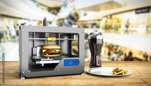 Fotografía  3D printer print burger 3d render Success food mace concept