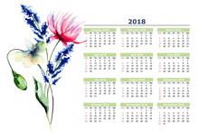 Calendar 2018 Stylized Flowers