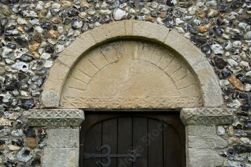 Saxo-Norman period tympanum over the church door at Birchanger, Essex, England Tapéta, Fotótapéta