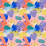 Fototapeta Do akwarium - Seamless pattern with abstract watercolor stains, tropical leaves, paint brushes freehand strokes