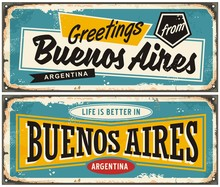Buenos Aires Argentina Retro Greeting Card Template. Vintage Travel Comic Style Signs Set From South America.
