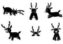 Cute Reindeers Silhouettes Ico...