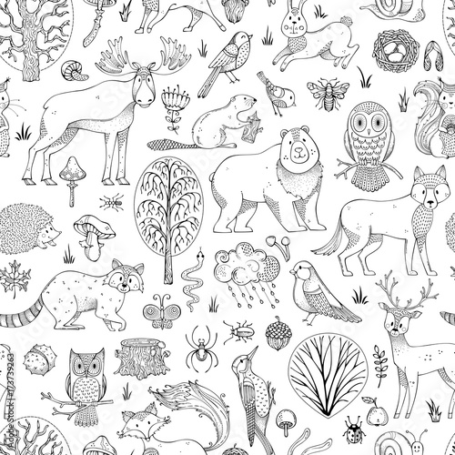 Cotton fabric Vector doodles woodland seamless pattern.