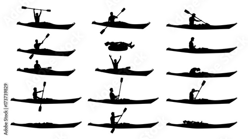 Obraz na plátně man in kayak silhouette set