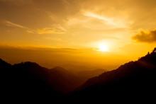 Orange Sunset Shine On Sky And...