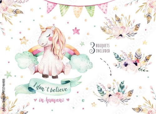Obraz na plátně Isolated cute watercolor unicorn clipart