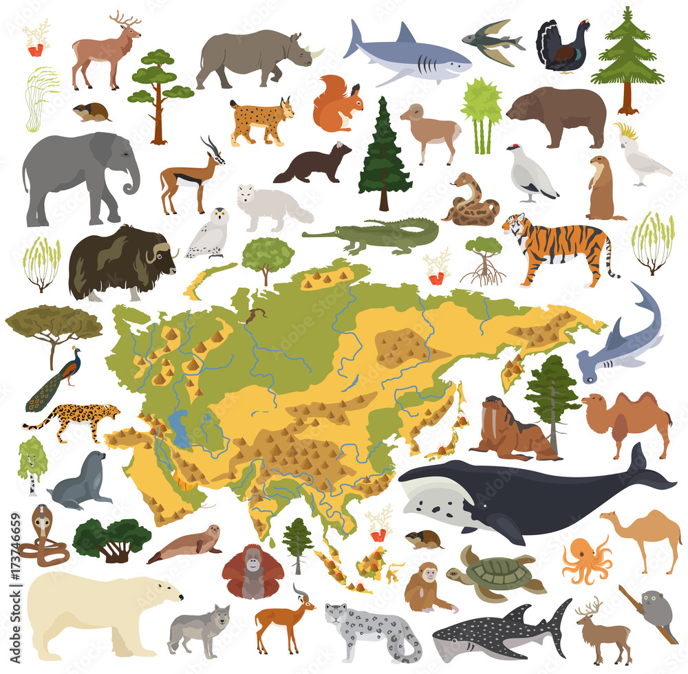 Fototapeta Flat Asian flora and fauna map constructor elements. Animals, birds and sea life isolated on white big set. Build your own geography infographics collection